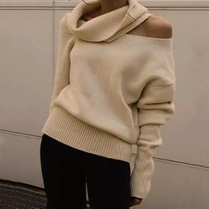 Radiez High Neck Cold Shoulder Long Sleeve Sweater
