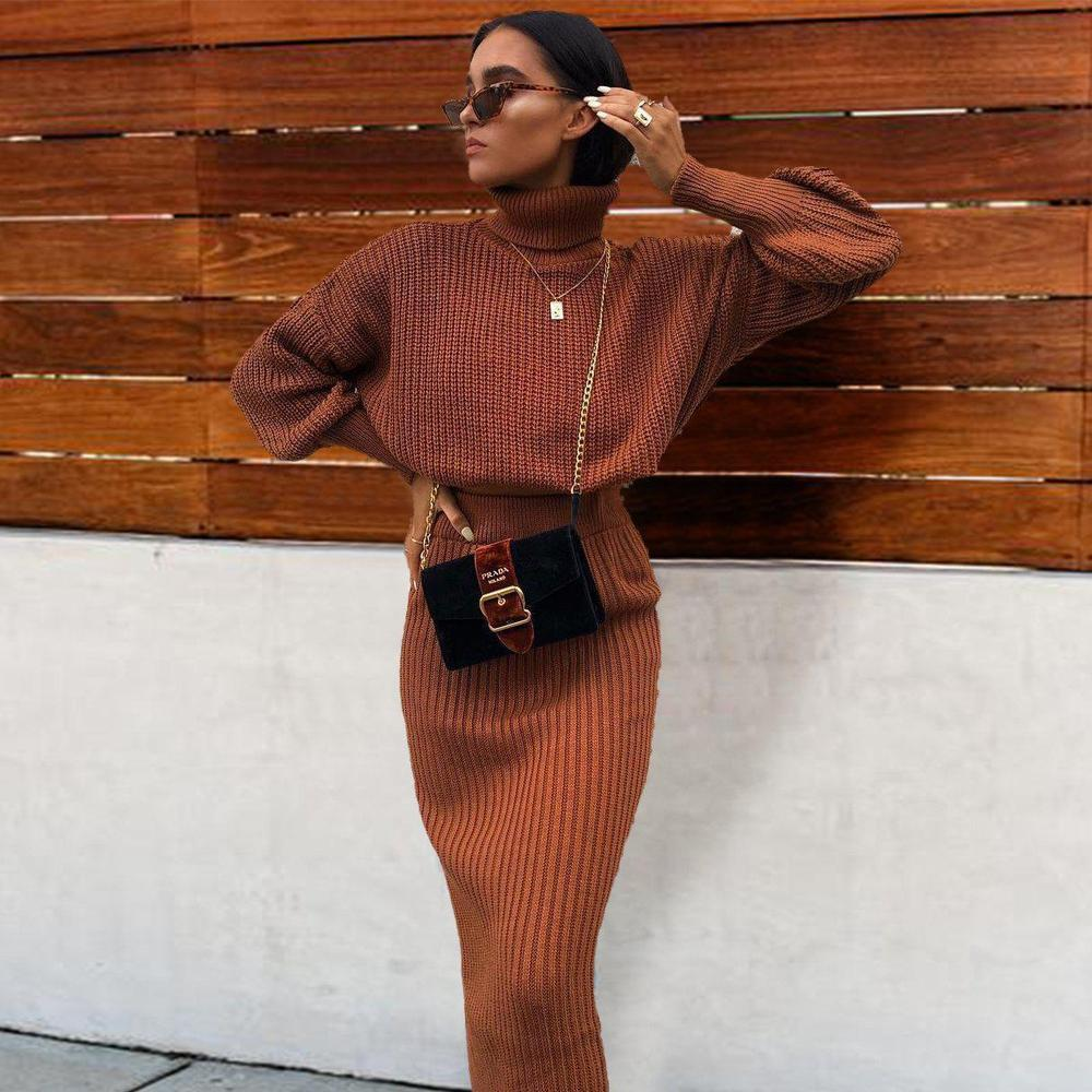 Radiez High Neck Long Sleeve Two-Piece Maxi Dress