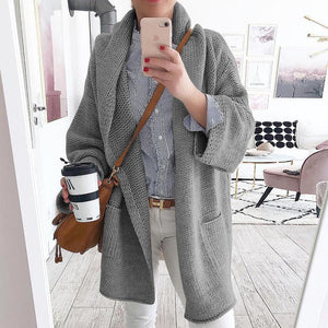 Radiez Solid Color Long Sleeve Pocket Cardigan