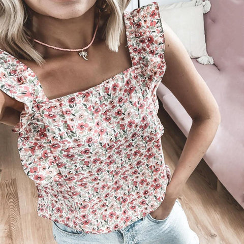 Radiez Gentle Pink Floral Square Neck Sleeveless Top
