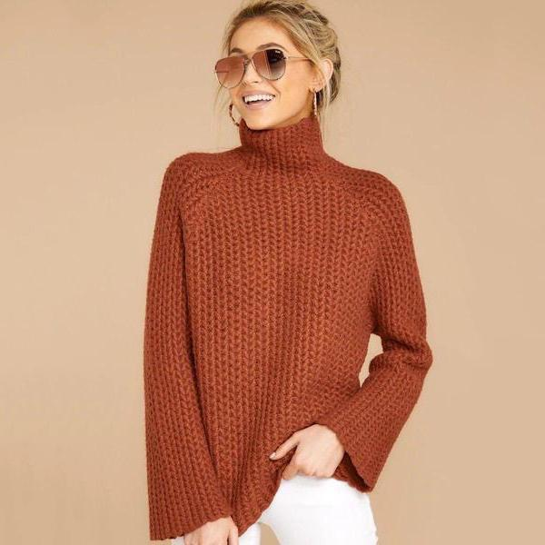 Radiez Basic Long Sleeve High Neck Sweater