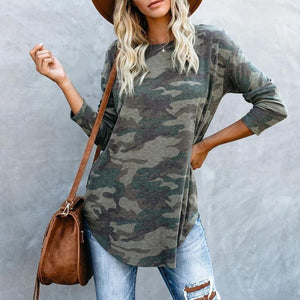 Radiez Fashion Camouflage Round Neck Long Sleeve Tee