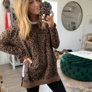 Radiez Casual Round Neck Long Sleeve Leopard Sweatshirt