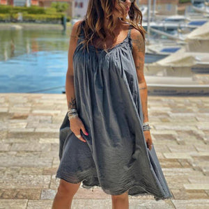 Radiez Simple Grey Sling Loose Pleated Dress