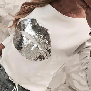 Radiez Fashion Sequin Pattern Casual Sweatshirt
