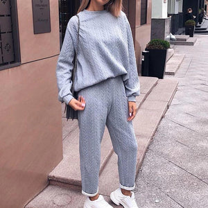 Radiez Crew Neck Long Sleeve Knitted Two Piece Set