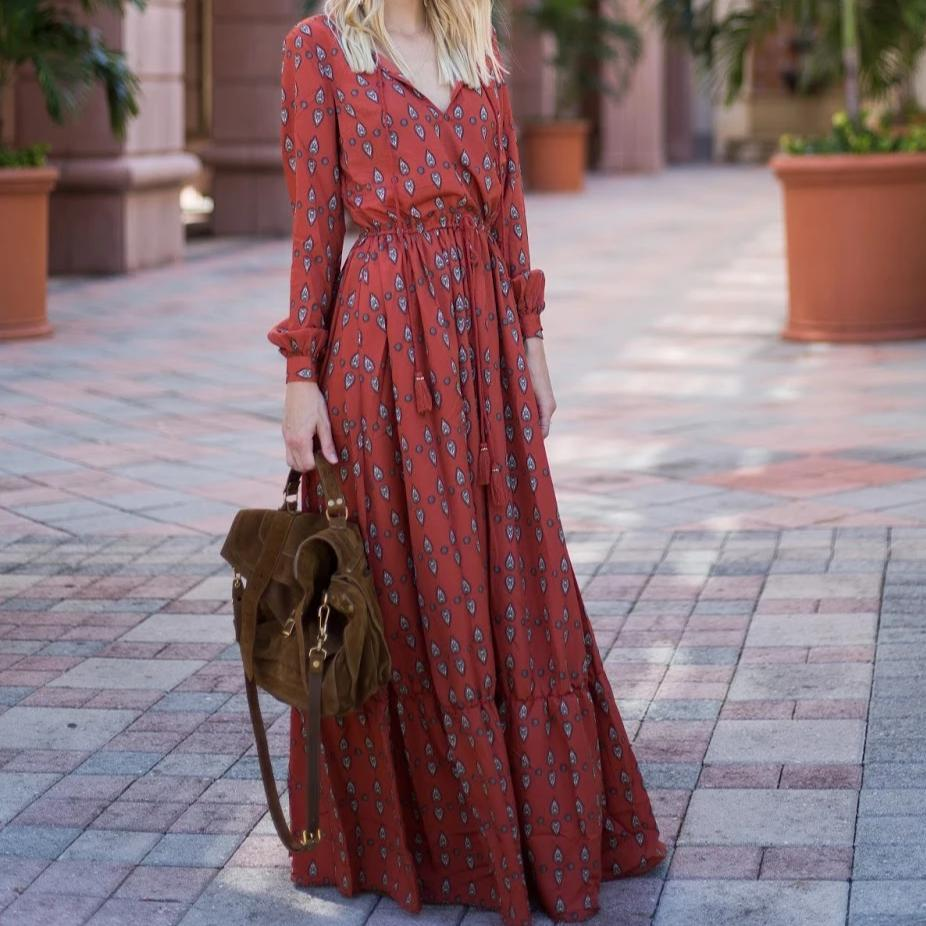 Floral Print V-Neck Long Sleeve Maxi Dress