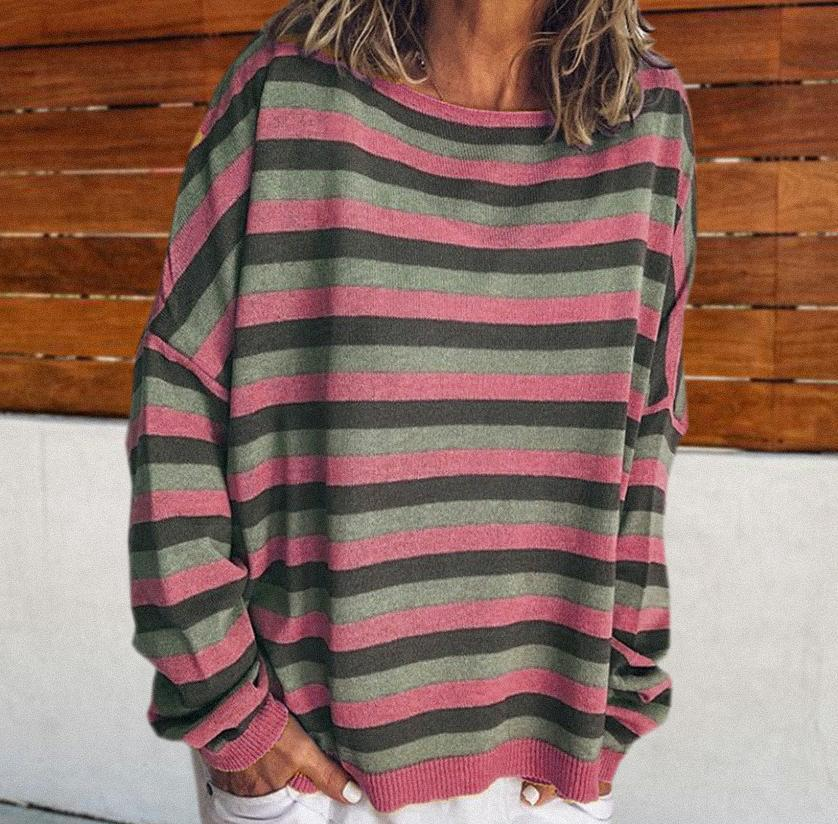 Radiez Casual Striped Round Neck Long Sleeve Loose Tee