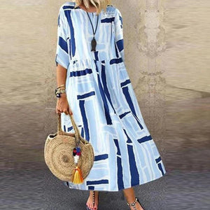Radiez Paneled Plaid Print Color-Block Casual Maxi Dress