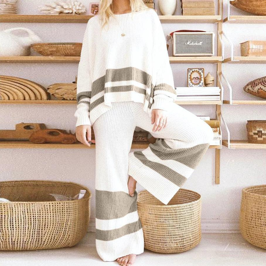 Radiez Crew Neck Striped Long Sleeve Two-Piece Set