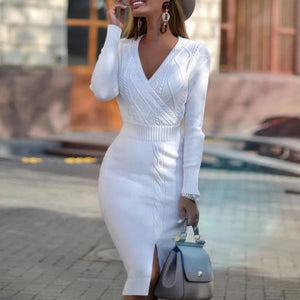 Radiez Fashion Solid Color V-Neck Long Sleeve Thigh Split Sweater Dress