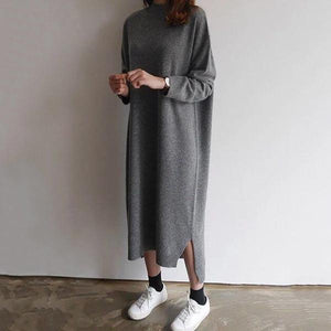 Radiez Casual Pure Color Long Sleeve Knit Midi Dress