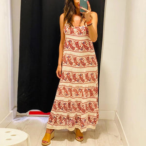 Radiez Ethnic Printed Sling Loose Vacation Dress
