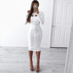 Radiez Long Sleeve Bodycon Bandage Hollow Out Midi Dress