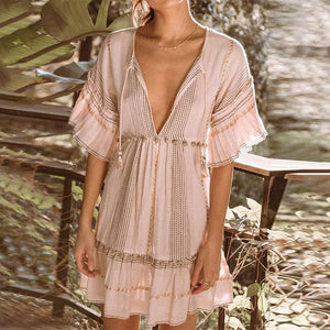 Radiez Boho Elegant Striped Long Sleeve Ties Casual Mini Dress