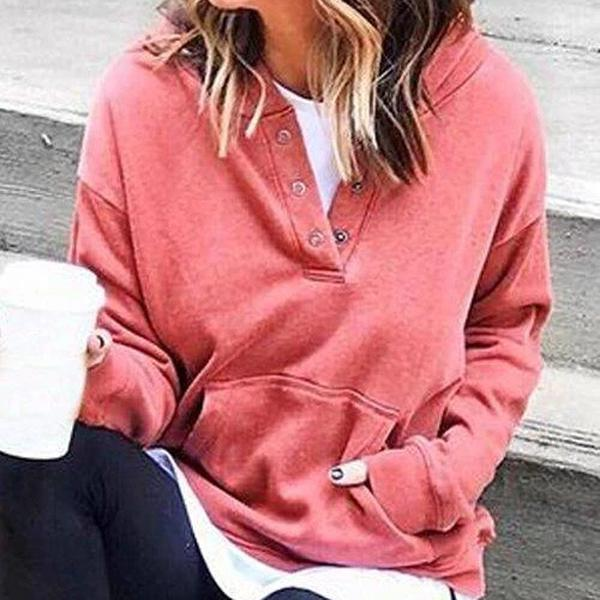 Radiez Casual Long Sleeve Solid Color Sweatshirt