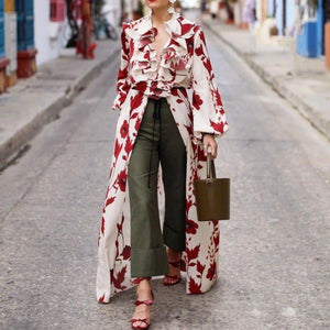 Radiez Stylish Printed Long Sleeve Maxi Dress