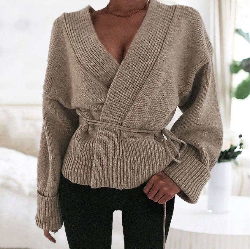 Radiez Chic V-Neck Long Sleeve Sweater Coat