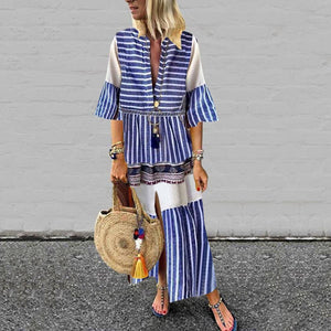 Radiez V-Neck Stripe Long Sleeve Maxi Dress