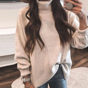 Radiez Plain High Neck Casual Sweater