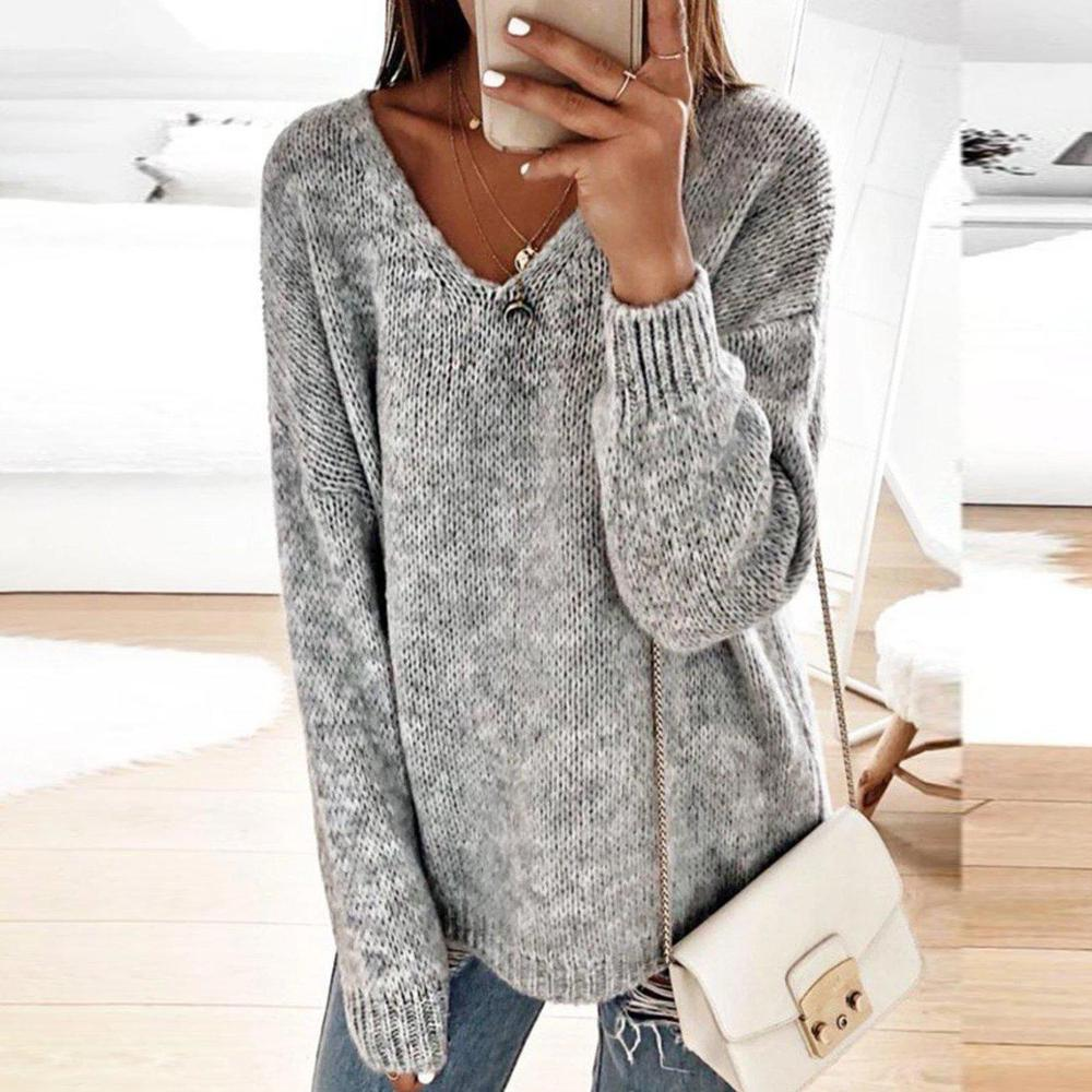 Radiez Vintage V-Neck Long Sleeve Solid Sweater