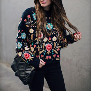 Radiez Chic Loose Embroidery Long Sleeve Sweater