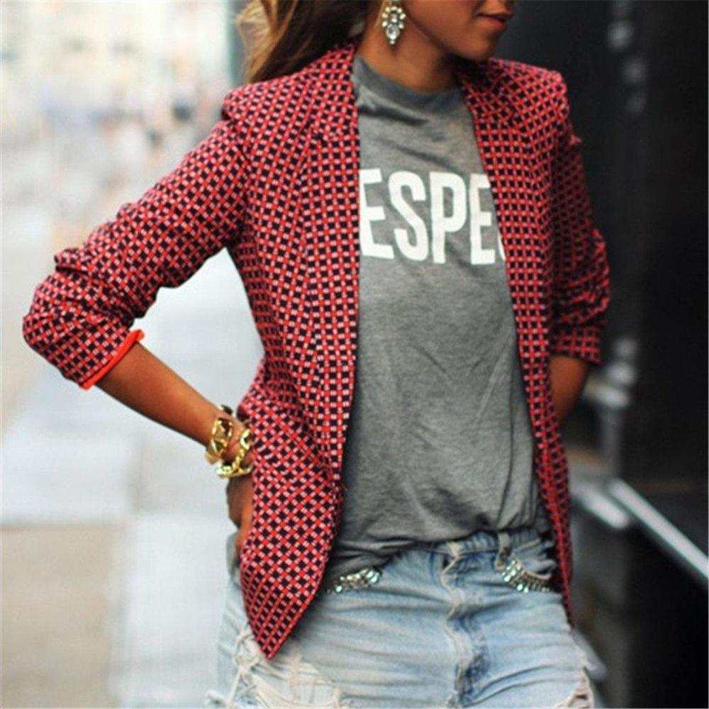 Radiez Fashion Casual Plaid Blazer