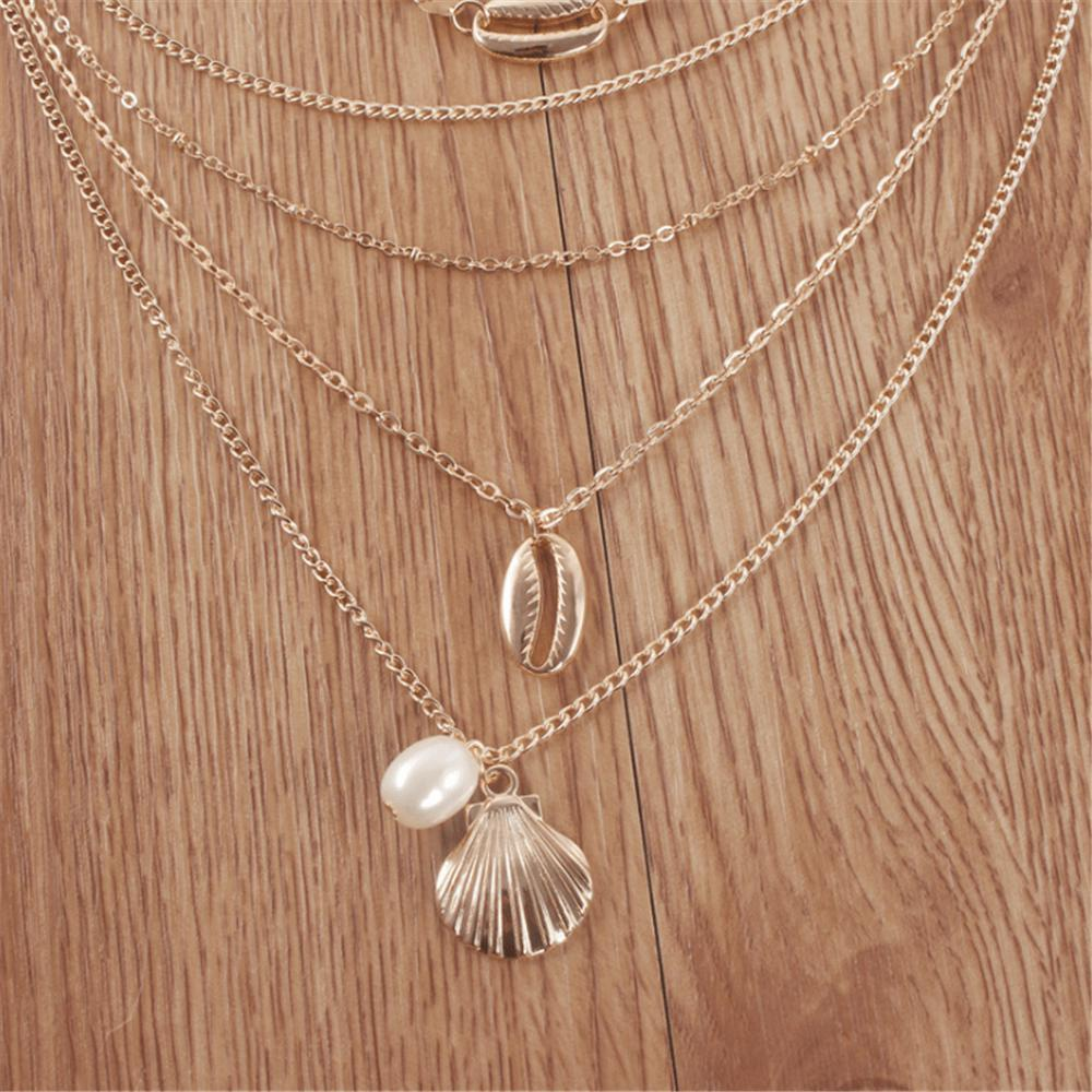 Radiez Fashion Simple Alloy Shell Pendant Multi-Layer Necklace