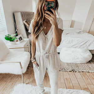 Radiez Casual Short Sleeve Solid Color Drawstring Lounge Jumpsuit