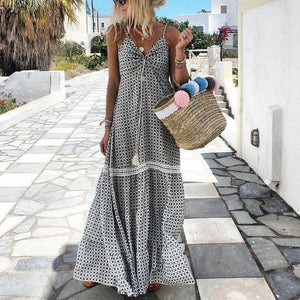 Radiez Sexy Sling Print Casual Holiday Maxi Dress