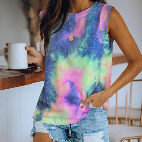 Radiez Tie-Dye Sleeveless Round Neck Top