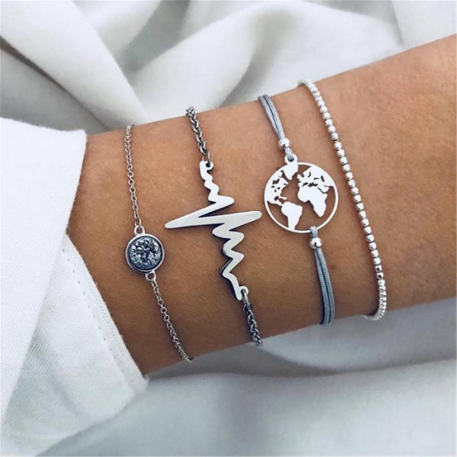 Radiez Fashion Personality Lightning World Map Bracelet Set