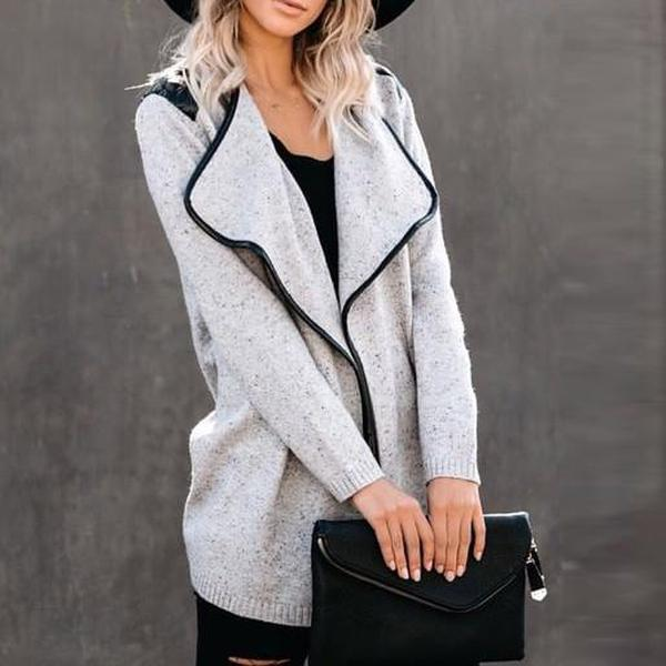 Radiez Fashion Lapel Long Sleeve Cardigan