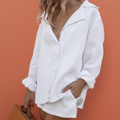 Radiez Casual V-Neck Pure White Shirt And Loose Shorts Set
