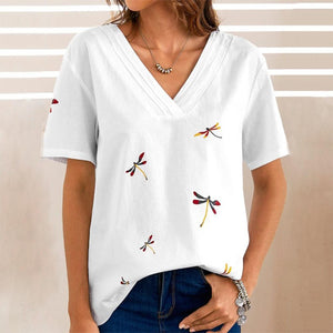 Radiez Simple White V-Neck Printed T-Shirt