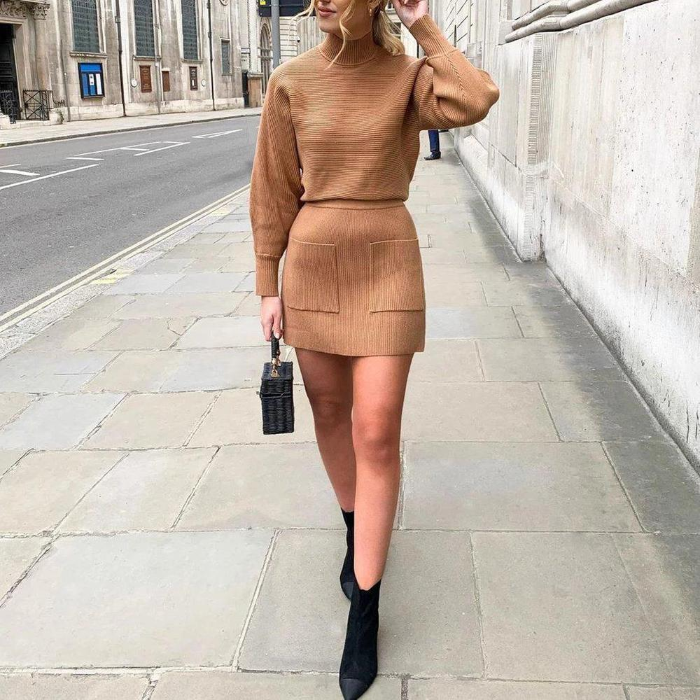 Radiez Camel Simple Pockets Two-Piece Sweater Dress