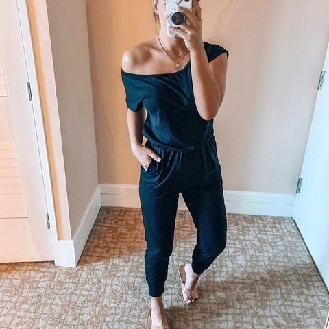 Radiez Solid One Shoulder Elastic Waist Jumpsuit With Pockets
