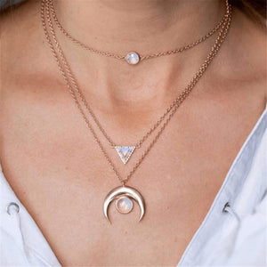 Radiez Moon Pendant Multilayer Necklace