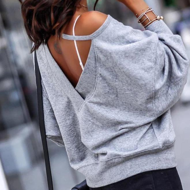 Radiez Casual Grey Off Shoulder Backless Long Sleeve Loose Tee