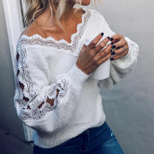 Radiez Casual Lace V-Neck Long Sleeve Sweater