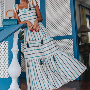 Radiez Vintage Square Neck Striped Maxi Dress