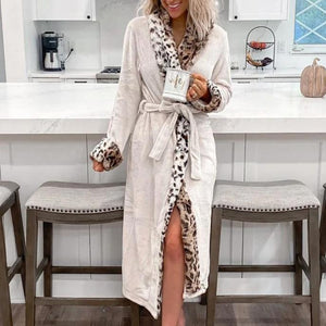 Radiez Long Sleeve Leopard Sexy Robe