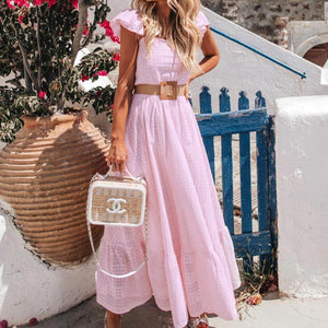 Radiez Gentle Pink Flutter Sleeve Maxi Dress
