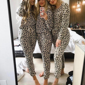 Radiez Leopard Print Long Sleeve Two-Piece Set