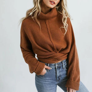 Radiez Brown Turtle Neck Knotted Sweater