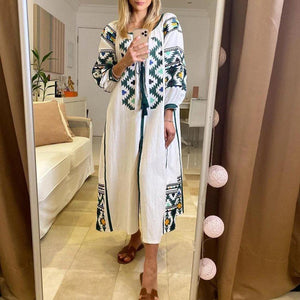 Radiez Fashion Round Neck Long Sleeve Printed Loose Maxi Dress