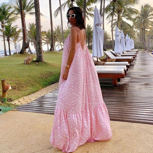 Radiez Cute Pink Loose Splice Printed Vacation Maxi Dress