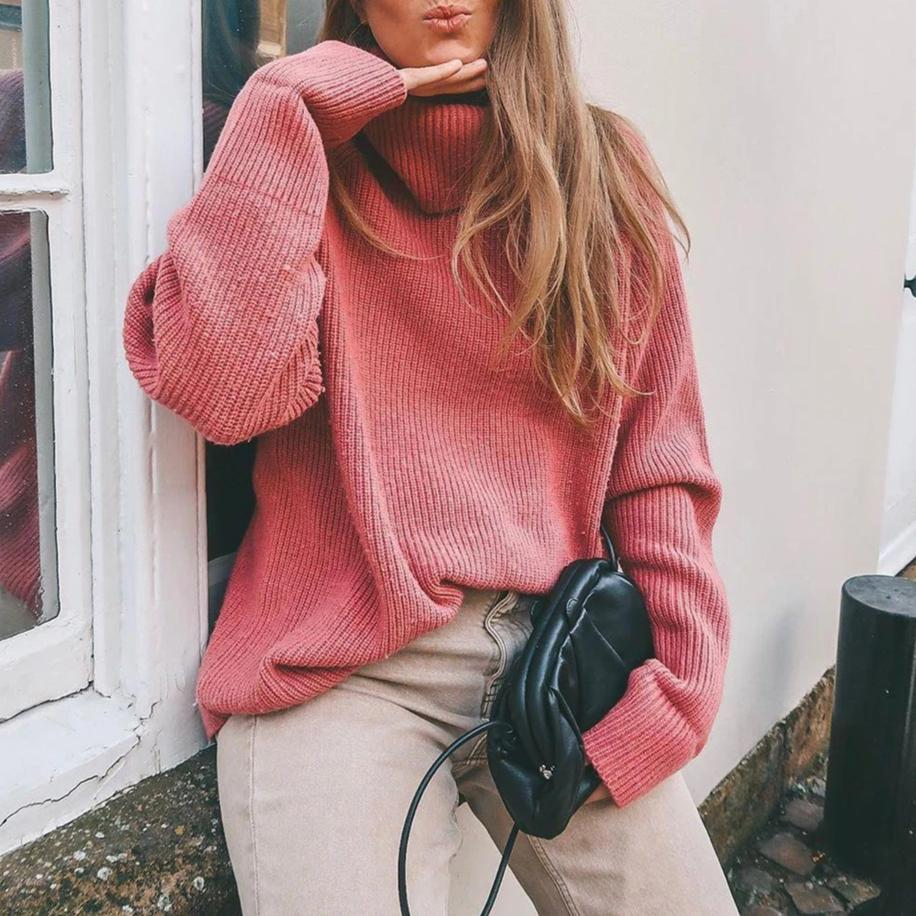 Radiez Fashion Pink High Neck Long Sleeve Simple Sweater