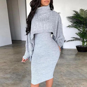 Radiez Solid High Neck Ribbed Sweater And Dress Set