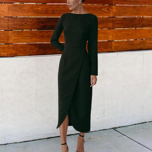 Radiez Black Round Neck Long Sleeve Split Midi Dress